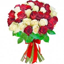 Букет 35 роз красных и белых